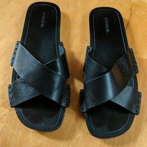 Vince Nico Leather Slides Sandals size 9 us